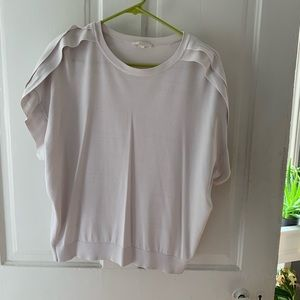 XS knit white blouse with short sleeves